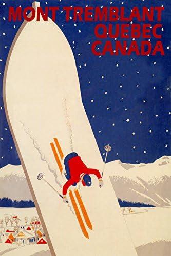 SKI MONT TREMBLANT QUEBEC CANADA SKIING WINTER SPORT TRAVEL VINTAGE POSTER REPRO