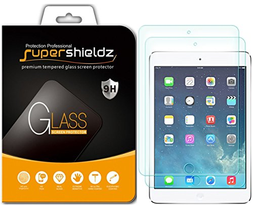 [2-Pack] Supershieldz for Apple iPad Mini 3 / iPad Mini 2 & iPad Mini Tempered Glass Screen Protector, Anti-Scratch, Anti-Fingerprint, Bubble Free, Lifetime Replacement - Protector Apple Ipad Screen Mini