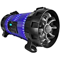Pyle Portable Wireless BoomBox Stereo Rechargeable Speaker System with App Controlled LED Beats Party Lights, Bluetooth and NFC, Microphone Input, AUX for MP3 Player, USB Reader, FM Radio - PBMSPG260L