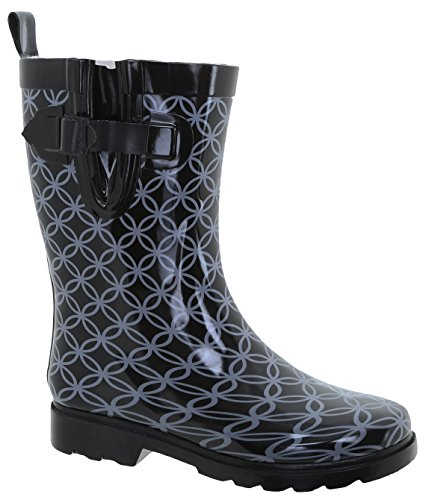 Capelli New York Ladies Circle Geo Print Mid Calf Rubber Rain Boot Black Combo e4TrPR