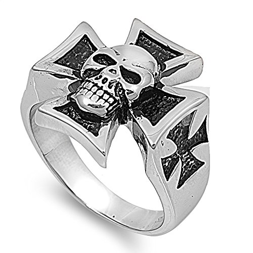 Stainless Steel Biker Style Iron Cross And Skull Ring Size 11 (Steel Iron Cross)