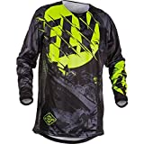 Fly Racing Men's Kinetic Outlaw Jersey(Black/Hi-Vis, Large),1 Pack