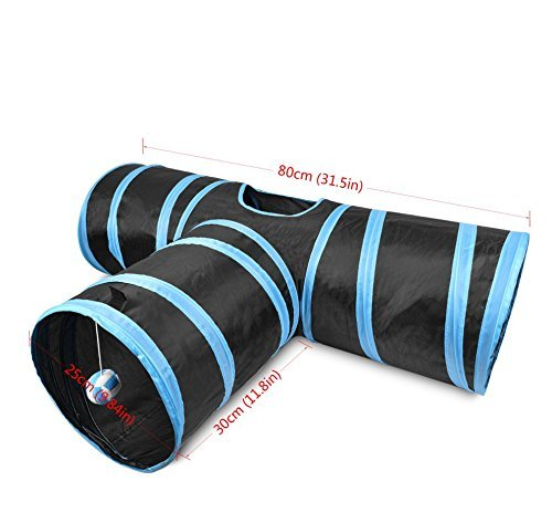 bluee COOMDY 3 Way Cat Tunnel, Collapsible Pet Toy Tunnel Ball Cat, Puppy, Kitty, Kitten, Rabbit (bluee)
