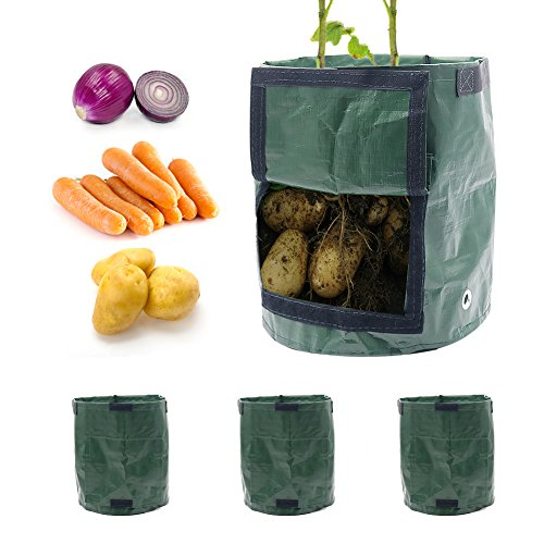 Shintop 3-Pack Grow Bags, 7 Gallons Garden Planter Bag with Handles and Access Flap for Potato, Carrot, Onion, Tomato Vegetables (Green) by Shintop