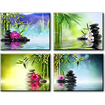Zen Wall Art Spa Bamboo Paintings on Canvas for Bathroom Massage Orchid Flowers and  sc 1 st  Amazon.com & Amazon.com: Zen Wall Art Spa Bamboo Paintings on Canvas for ...