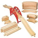 Wooden Train Tracks Set with Bridge -23 Piece Set - 100% Compatible with All Major Brands - Brio Thomas Chuggington By Dragon Drew
