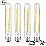(4 Pack) SUNMEG T10 LED Bulb, Tubular Light Bulb, 6W Equivalent to 60W Incandescent Bulb, 120V, Soft White 2700K, E26 Base