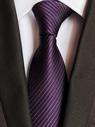 Elfeves Mens Dark Purple Woven Tie HANDMADE Luxury Suit Necktie Birthday Present