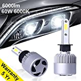Agoigo H1 LED Headlight Bulbs 60W 6000lm 6000K Cool White F-S2 Series All-in-one COB Car Automotive Headlight Conversion Kit 50000 HOURS with 2 Pcs of H1 Bulbs Single Beam 5 Yr Warranty