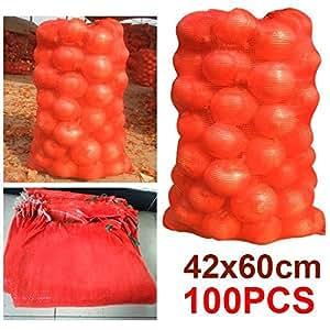 """Beyondfashion 100x sacos de malla de color naranja 20kg Bolsas de malla leña registros patatas cebollas 17x 24"""""""