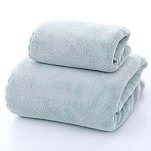 SYXLTSH Toalla de baño + Toalla salón de Belleza algodón Adulto Suave Absorbente Conjunto baño Pareja, Verde A: Amazon.es: Hogar