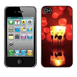 YOYO Slim PC / Aluminium Case Cover Armor Shell Portection //Christmas Holiday Cute Deer Candle 1152 //Apple Iphone 4