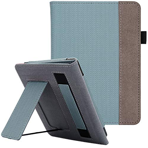 WALNEW Stand Case Fits Kindle Paperwhite 10th Generation 2018 PU Leather Case Smart Protective Cover with Hand Strap (Blue)