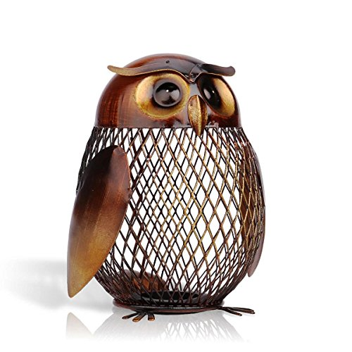 [Escultura Owl Shaped Metal Coin Box Home Furnishing Articles Crafting Art Home Decoration] (Costume Design For Rabbit Hole)