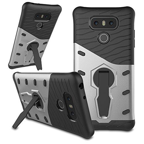 Funda LG G6 ,Armor REXANG® Carcasa ,[Heavy Duty] 360 Grados de Rotación soporte ,TPU + PC de combinación a prueba de golpes,híbrido Defender Carcasa Duro prueba de choques y dustproof de caja Protecto Plata