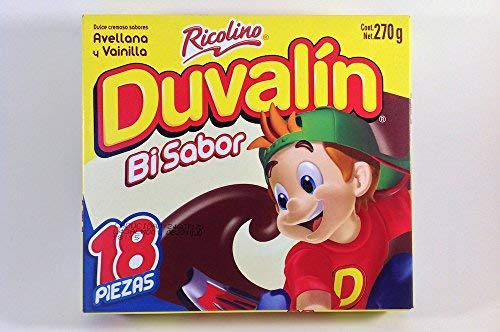 (Duvalin Hazelnut & Vanilla Mexican Sweet Candy 18 Pcs 9.52oZ Authentic Mexican Candy with Free Chocolate Kinder Bar Included )