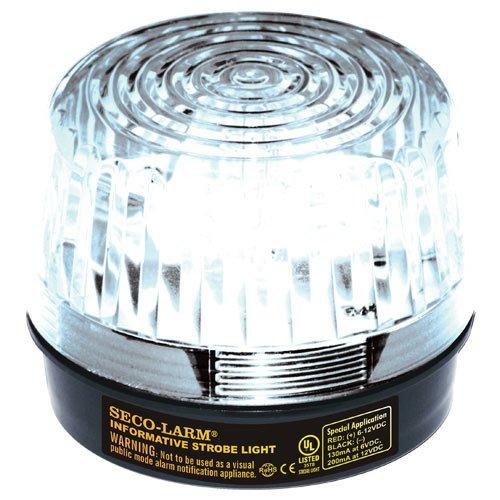 Seco-Larm Enforcer LED Strobe Light with Built-In Programmable Siren, Clear
