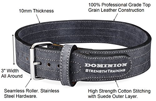 """Leather Weightlifting Belt Single Prong for Men and Women 3"""" Wide X 10mm Thick"""
