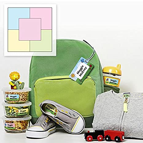 78d3436a2b01 Amazon.com   Personalized Waterproof Weatherproof No-Sew Preschool Daycare  Package including Labels and Bag Tags Babies Kids and Toddlers (Chalk  Palette ...