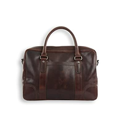 a0958b97b859 Smith and Canova Men s Brown Leather Twin Handled Briefcase  Amazon.co.uk   Clothing