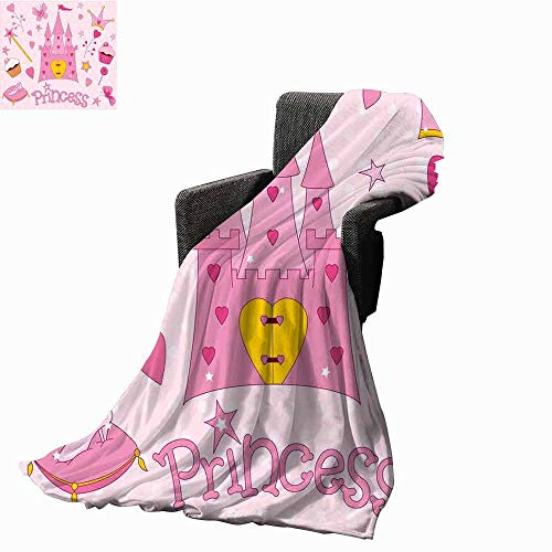 vanfan-home Kids Decorative Throw Blanket,Little Princess Tiara Slippers Fairy Castle Butterfly Heart Lollipop Wand Cupcake Girls Party Print Soft,Colorful Blanket for Travel Use(70