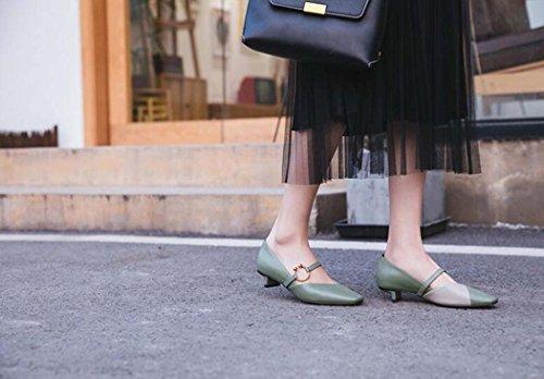 Zapatos Mujer Zapatos Punta Sueltos de Zapatos de de Bombas Tac Cuadrada xSSBawHq1