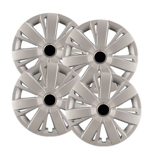 Hubcaps.com Premium Quality 16' Silver Hubcaps/Wheel Covers fits VW Jetta, Heavy Duty Construction (Set of 4)