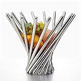 XuBa Creative Stainless Steel Foldable Fruits Basket Decorative Tabletop Metal Organizer Handicraft Furnishing Silver