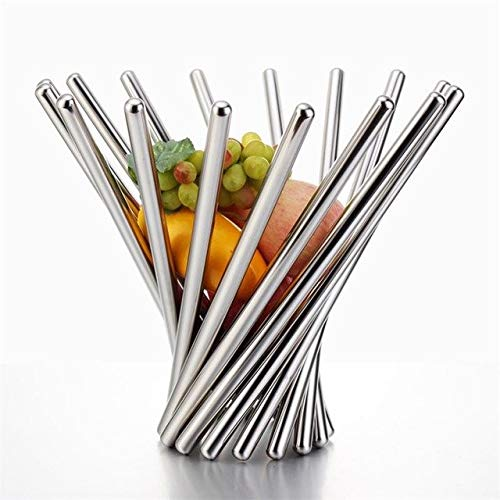 XuBa Creative Stainless Steel Foldable Fruits Basket Decorative Tabletop Metal Organizer Handicraft Furnishing Silver