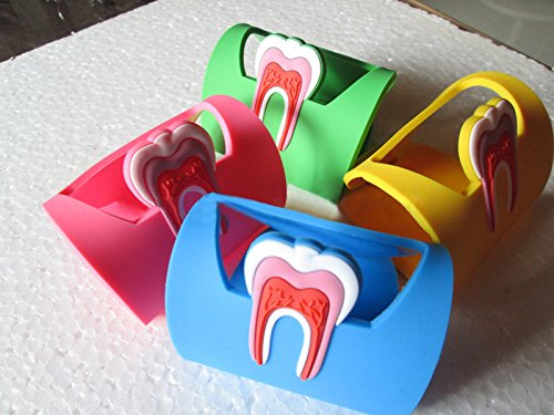 Aphrodite 4Pcs Dentistry Rubber Dental Teeth Tooth Name Card Holder Case Colourful(Red Yellow Blue Green) (Dentist Business Card Holder)