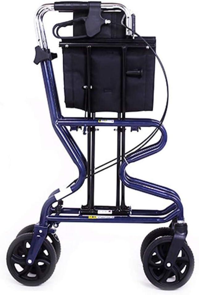 XY-YZGF - Marco de 4 ruedas, plegable, resistente, carrito de compras con asiento para caminar, ayuda al cochecito, scooter, ruedas