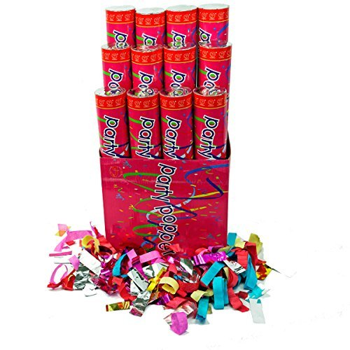 (12 Pack) Large (12 Inch) Confetti Cannons Air Compressed Party Poppers Indoor & Outdoor Safe Perfect For Any Party New Years Eve Or Wedding Celebrations Shoot Streamers 10 Foot