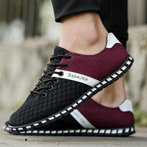 On Sales Soft Sneakers,Hemlock Men Boy Mesh Comfortable Breathable Casual Shoes Flat Shoes Gym Shoes (US:8.5, Black) - 46' Four Light