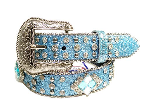 Kids Western Belts with Rhinestone Tooled Leather (Blue-Blue-Rhombic, Medium)