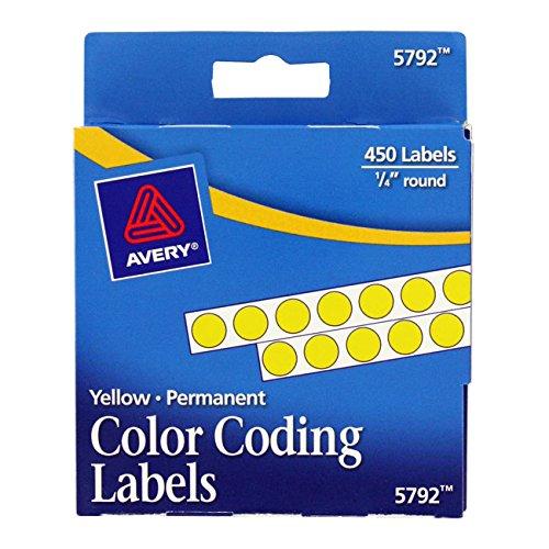 Averyamp;reg; Permanent Self-Adhesive Color-Coding Labels, 1/4in dia, Yellow, 450 per Pack Self Adhesive Permanent Color