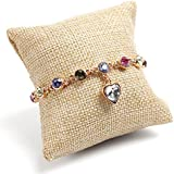 Sumanee Display Bangle Holder Beige Small Bracelet For Jewelry Linen Pillow Watch