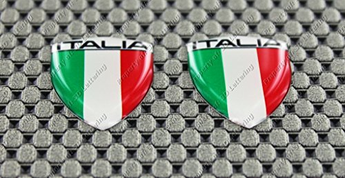 Italy (Italia) Mini Flag 3d Domed Decal Sticker (2pcs)
