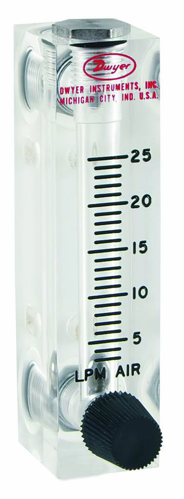 Dwyer Visi-Float Series VFA Flowmeter, 2'' Scale, Range 0.6-5 GPH Water, with Stainless Steel Valve, 1/8'' Female NPT Process Connection