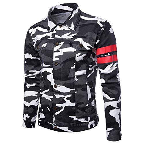 Stitch Coats Snap Howme Front Camouflage Grey Dungarees Men Color Jacket qxIqCRwA4