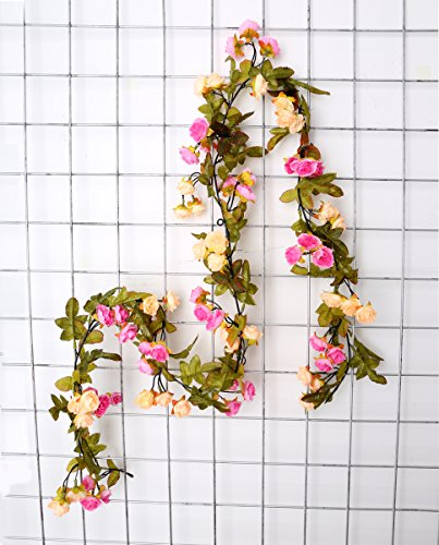 [Autumn Rose Garland Artificial Rose Vine with Green Leaves Flowering Vines Decorative Plants Artificial Flower Vine Garlands Pack of 3 (purple+champagne)] (Autumn Leaf Bouquet)
