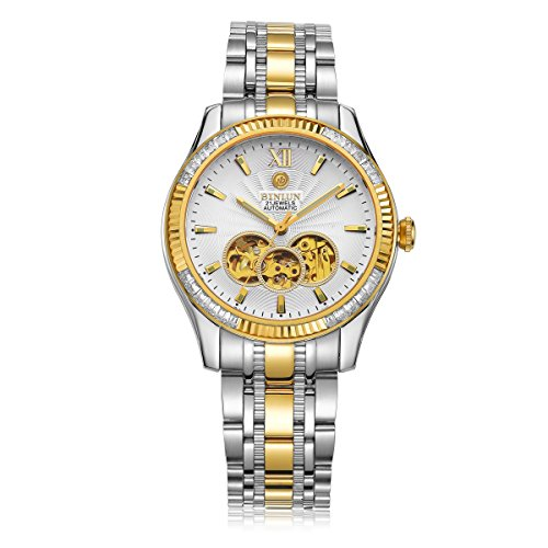 BINLUN Mens 18k Gold Watches Tourbillon Automatic Mechanical Watch Stainless Steel Bracelet Diamond Bezel