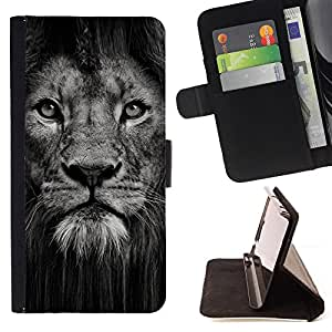 Lion Powerful Nature Animal Big Cat - Painting Art Smile Face Style Design PU Leather Flip Stand Case Cover FOR HTC One M8 @ The Smurfs