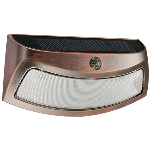 SZHENRY Solar Outdoor Step Light Wireless Waterproof, Auto On/Off Smiling Wall Security Lights for Step Stair,Garden, Patio, Doorway, Outside Wall (Copper)
