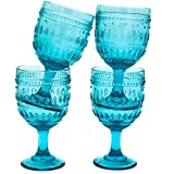 Euro Ceramica Fez Glassware Collection Wine/Water Goblet Glasses, 12oz, Set of 4, Turquoise Review