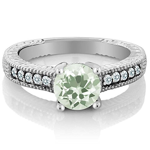 1.25 Ct Round Green Amethyst White Created Sapphire 925 Sterling Silver Ring (Necklace Amethyst Sapphire Green &)