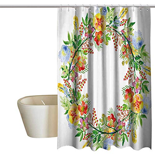 (Flowers Decor Mildew Resistant Fabric Shower Curtain Wreath with Branches Flowers and Leaves Save the Date Card Invitation Print No Chemical Odor, Rust Proof Grommets 72