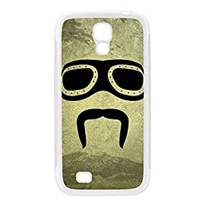 Biker Moustache White Silicon Rubber Case for Galaxy S4 by DevilleArt + FREE Crystal Clear Screen Protector