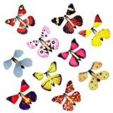 10 PCS Magic Fairy Flying Butterfly in the Book, Butterfly Rubber Band Powered Wind up Butterfly Toy, Novelty Wind Up Toys for Party Great Gag Gift Stocking Stuffer Gift for Kids Boys Girls (Random Color)