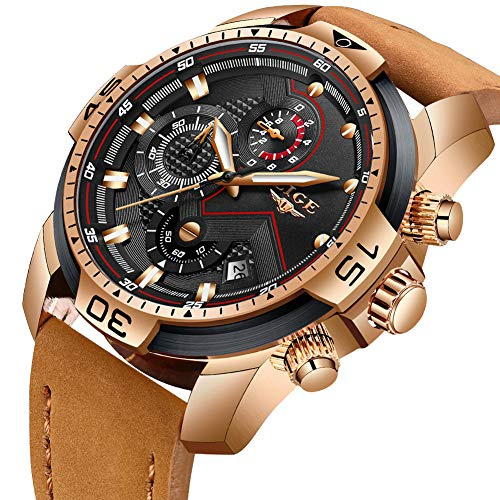 Mens Watches,LIGE Watches for Men Military Sports Waterproof Leather Strap Wristwatch Men Bussiness Dress with Date Analog Quartz Watch Man - Leather Strap Wrist Watch