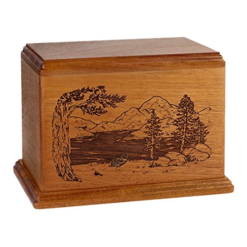 Wood Cremation Urn - Mahogany Mountain Lakes by Memorials Forever (Image #1)